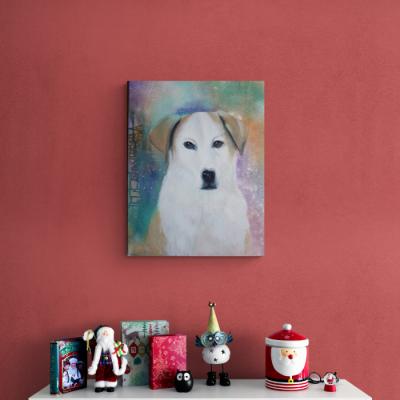 Auftragsmalerei Hundeporträt L Christmas © Monika Schmitt