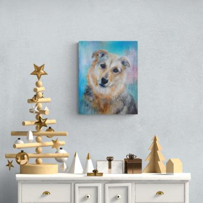 Auftragsmalerei Hundeporträt T Christmas -- © Monika Schmitt