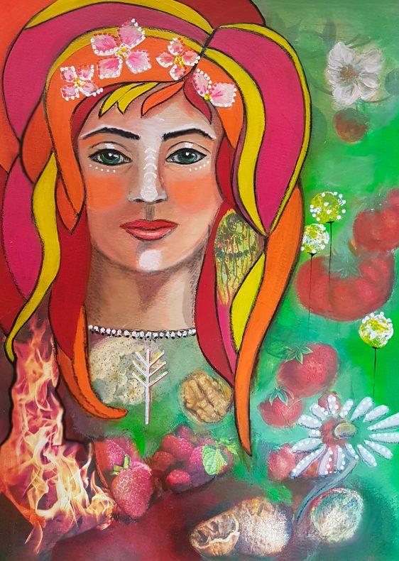 Energiebild Lady Beltane Mixed Media Collage © Monika Schmitt